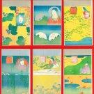 Set of 6 Antique JAPAN Japanese Art Postcard w/ Folder Silver Moon Flowers #EA129