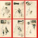 Set of 8 JAPAN Japanese Art Postcard w/ Folder HAIKU #EA142