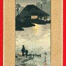 Vintage JAPAN Japanese Art Postcard Woodblock Print by HIROSHIGE Pond Lake Night #EAW47