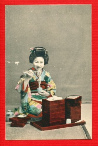 Antique JAPAN Japanese Postcard Hand-Colored GEISHA SOBA Noodle #EG94
