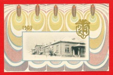 1909 JAPAN Japanese ART NOUVEAU Commemorative Postcard w/ Folder Firefly #EO21