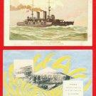 Lot of 2 JAPAN Japanese Postcards Battleship SATSUMA Launching in YOKOSUKA #EM119
