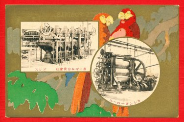 Antique JAPAN Japanese Advertising Art Postcard Rubber Company Parrot #EOA46