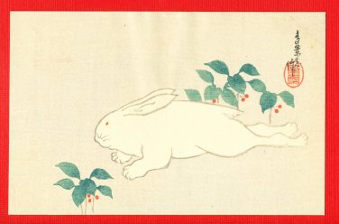 JAPAN Japanese Postcard Woodblock Print Artist's Seal Rabbit #EAW71