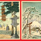 Lot of 2 JAPAN Japanese Postcards Woodblock Print NIKKO Pagoda #EAW77