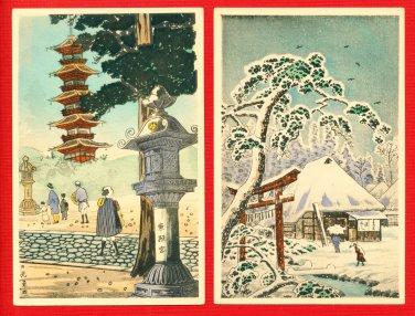 Lot of 2 JAPAN Japanese Postcards Woodblock Print NIKKO Pagoda #EAW77