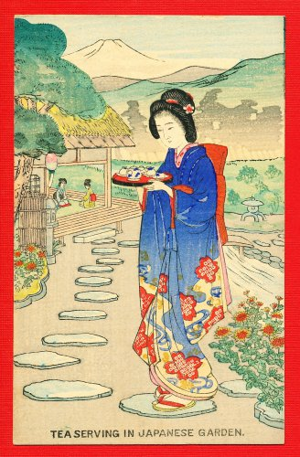JAPAN Japanese Postcard Woodblock Print Woman Serving Tea #EAW85