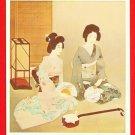 JAPAN Japanese Art Artist Postcard Geisha Shamisen #EA166