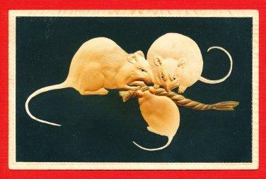 Antique JAPAN Japanese Embossed Art Postcard Mouse Mice #EA174