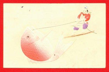 1908 JAPAN Japanese Embossed Art Postcard Fish Sea Bream God #EA186