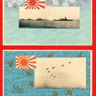 Lot of 2 JAPAN Japanese Postcards Military Art Imperial Navy Naval Review in 1930 #EM162
