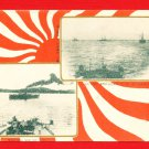 JAPAN Postcard Military Propaganda Art RUSSO-JAPANESE WAR Navy Fleet Battleships #EM178