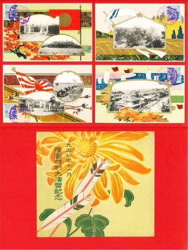 Set of 4 JAPAN Japanese Postcards w/ Folder Military Art Army Maneuvers in 1918 #EM189