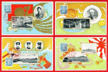 Lot of 4 JAPAN Japanese Postcards Navy Naval Review in 1930 Emperor SHOWA Admiral TOGO #EM194