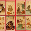 Lot of 8 Antique Japanese Caricature Art Postcards Daruma Zen Buddhist Monk #EA200