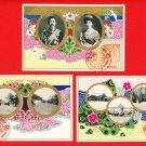 1925 Set of 3 JAPAN Japanese Art Nouveau Postcards Emperor Taisho Silver Wedding Anniversary #EE19