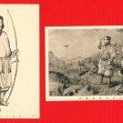 Set of 2 Antique Japanese Postcards the First Emperor of Japan JINMU #EE22