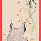Antique JAPAN Japanese Original Art Artist Signed Postcard Hand Painted Samurai Ghost Sword #EAW95