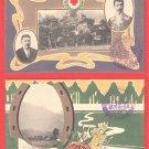 1908 Set of 2 JAPAN Japanese Art Nouveau Postcards w/ Folder Red Cross General Conference #ERC11