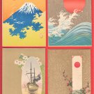 1900s Set of 4 Antique JAPAN Japanese Art postcards Mt. Fuji Sunrise Big Wave Boat Flower #EA204