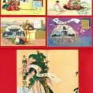 1935 Set of 4 JAPAN Japanese Art Postcards w/ Folder Samurai Exhibition #EOE16