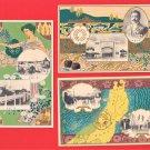 Set of 3 JAPAN Japanese Art Nouveau Postcards Exhibition Goddess Beauty Map #EOE17