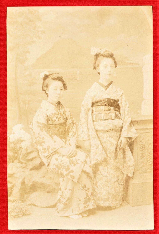 RPPC 1900s JAPAN Japanese Postcard Sepia Real Photo Geisha Girls #EG106