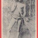 Antique Japanese Postcard Malaysia Senoi Sakai Native Aborigine Poisoned Spear #EF45