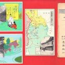 Set of 3 Antique JAPAN Japanese Advertising Art Nouveau Postcards w/ Folder Bank Map Nara #EOA57