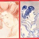 1900s Set of 2 JAPAN Japanese Hand Painting Original Art Postcards Beauty Woman #EAW104