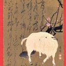 1907 JAPAN Japanese Art Postcard Sheep Goat New Year's Card #EA211