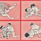JAPAN Japanese Art 4 Postcards Self-defense Martial Arts Jujutsu Judo Man Woman #EA221