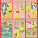 1906 Set of 6 JAPAN Japanese Art Nouveau Postcards w/ Folder Flowers Goddess Princess #EA222