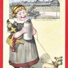 1922 Antique JAPAN Japanese Advertising Art Postcard Beer Company German Girl #EOA58