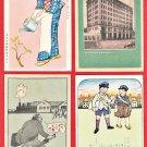 Set of 4 JAPAN Japanese Advertising Art Postcards Life Insurance Company #EOA61