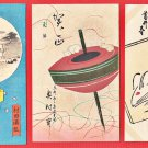 1936 Set of 3 JAPAN Japanese Art Postcards Woodblock Prints Mouse Mice Top New Year #EAW115