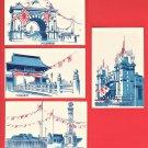 Set of 4 JAPAN Art Postcards Russo Japanese War Triumphal Arches in Tokyo #EC73