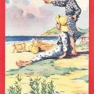 Antique JAPAN Japanese Art Artist Postcard Boys Sea Ocean Beach Summer #EA225