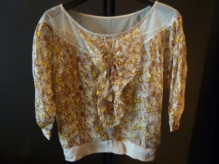 Ladies Thai silk 100% floral blouse  SMALL