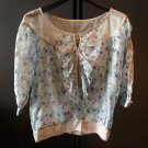 Ladies Thai silk 100% floral blouse  LARGE