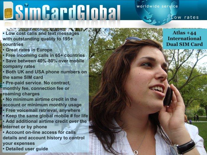 SimCardGlobal International Pre-paid Dual US/UK SIM Card for 195+ countries & Free Global Roaming