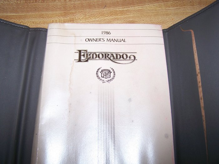 1986 Cadillac Eldorado Owners Manual