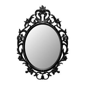 LARGE Ornate decorative wall mirror. Black vintage shabby inspired.