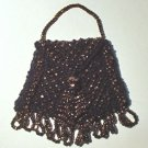 Black  & Gold Beaded Knitted Vintage Style Doll Pocketbook
