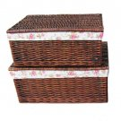 34441 willow boxes with linging and brown colour(2pcs for one set)