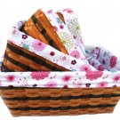 34603 willow and wood baskets with lining (4pcs for one set)