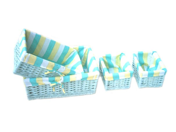 34103 willow baskets with blue colour(4pcs for one set)