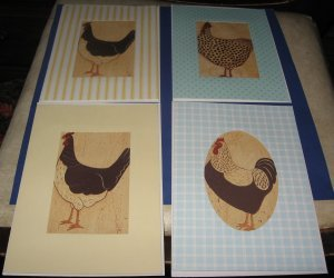 Handmade Chicken Rooster Greeting Cards set AC5