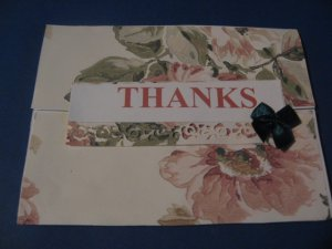 Thanks and green bow  handmade Greeting Card T9