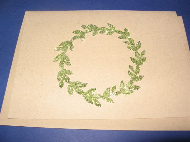 Thinking of You green glitter Tree Greeting Card TH10